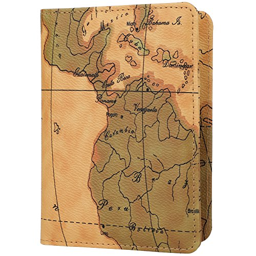 GDTK Leather Passport Holder Cover Case RFID Blocking Travel Wallet (Map ()