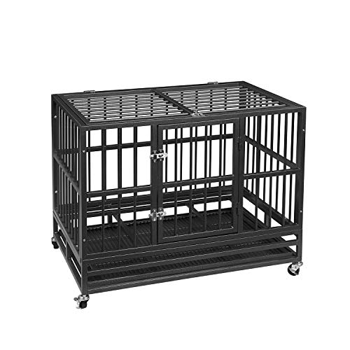 PUPZO Heavy Duty Dog Cage Crate Kennel Carbon Steel with Four Wheels for Large Dogs Easy to Install (36 -