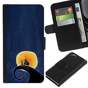 Surf Surf Wave Luna Blue Night- la tarjeta de Crédito Slots PU Funda de cuero Monedero caso cubierta de piel Para Apple (4.7 inches!!!) iPhone 6 / 6S