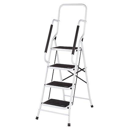 Livingsure Folding 4 Step Safety Ladder Padded Side Handrails