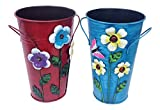 """Set of 2 Handmade Iron Vase or Planter or Holder with Raised Flowers Ladybug Butterfly Dragonfly Bee Birds (Red Floral and Blue Butterfly) Size 61/2""""tall X 4""""diameter Top X 3""""diameter Base"""
