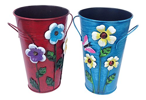 Set of 2 Handmade Iron Vase or Planter or Holder with Raised Flowers Ladybug Butterfly Dragonfly Bee Birds (Red Floral and Blue Butterfly) Size 61/2