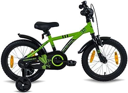 prometheus bicycles prometheus kinderfahrrad 16 zoll jungen und m dchen in gr n schwarz mit. Black Bedroom Furniture Sets. Home Design Ideas