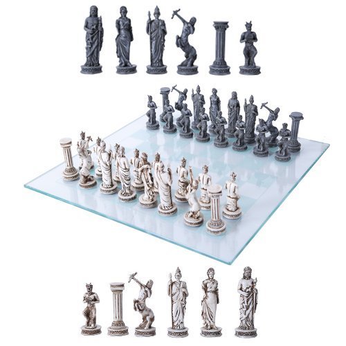 Greek Glass - Ebros Greek Mythology Chess Set Olympian Gods And Demigods Zeus Hera Olympus Army Resin Chess Pieces With Glass Board Set