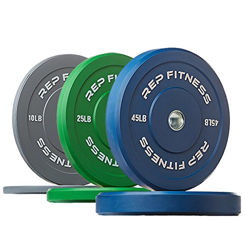 Rep Color Bumper Plates for Strength and Conditioning Workouts and Weightlifting, 160 lb Set