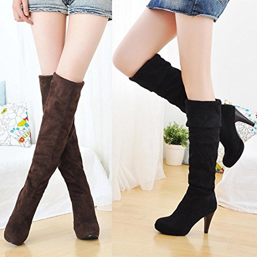 Minetome Women Fashion Thigh Over Knee Stretchy Shoes High Heel Boots Brown teV1uGjv4