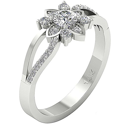 Designer 14Kt White Gold 1.40ct Cubic Zirconia Solitaire Wedding-Engagement Ring by Shashvat Diamonds Inc.
