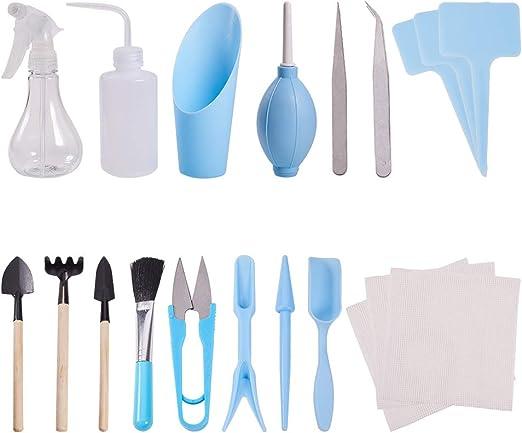 WANDIC - Juego de mini herramientas de jardinería suculentas para cuidado de las plantas en el jardín o en interior, 20 unidades: Amazon.es: Hogar
