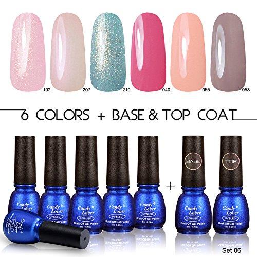 Candy Lover New Soak Off UV Led Gel Nails Polish 8ml Lacquers Sets 6pcs Colors Gel + Primer Base +Top Coat Starter Decoration Art Kits #006