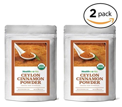Healthworks Ceylon Cinnamon Organic Ground Powder, 1lb (2 8oz Packs)