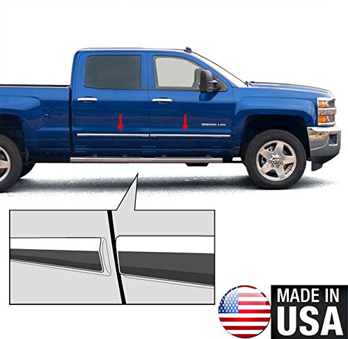 Made In USA! 14-2015 Chevy Sieverado GMC Sierra Crew Cab Body Side Molding Trim Overlay 1 1/8'' Wide 4PC (Side Molding For 2014 Silverado compare prices)
