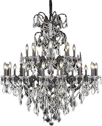 (Elegant Lighting Chandelier Athena Traditional Antique Foyer 24-Light Hallway Dark Bronze)