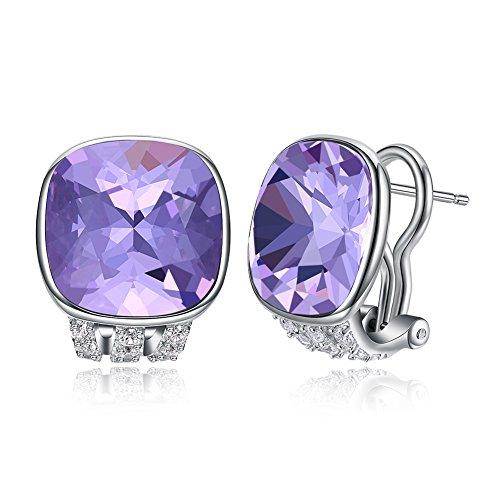 Vogzone Crystal Earrings Studs Swarovski French Clip Earrings Piercing Silver CZ Stud Earrings for Women Mother Wedding Jewelry