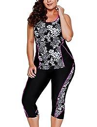 Women's Plus Size Floral Capris Bottom Tankini Two Picec Swimsuits L-XXXXXL