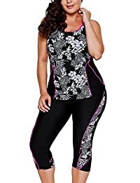 Gludear Women's Plus Size Floral Capris Bottom Tankini Two Picec Swimsuits L-XXXL