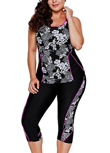 GLUDEAR Women's Plus Size Floral Capris Bottom Tankini Two Picec Swimsuits L-XXXXXL