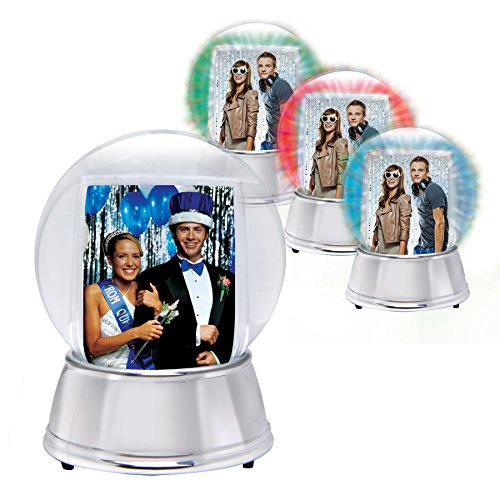 LED Light Up Photo Snow Globe (Silver, Large) Picture Of Snow