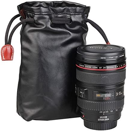 Villus Storage Bag with Stay Cord for Camera Lens Color : Color2 Size JINGZ Soft PU Leather 70mm x 60mm x 130mm Durable