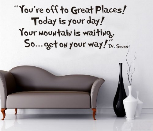 Cheap  Toprate® Quote Dr seuss You're off to great places... Wall Vinyl Sticker..