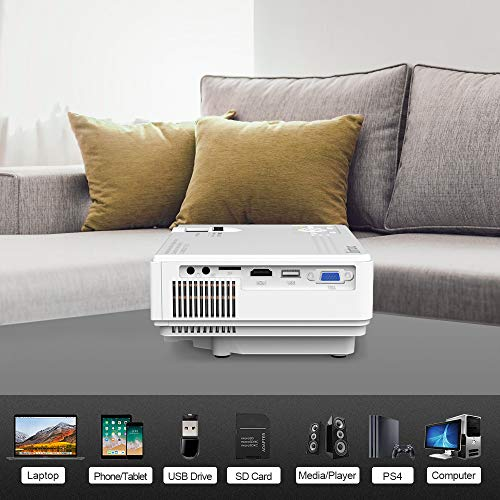 2019 Newest Mini Projector 1080P Supported 2600 Lumens HD Video Projector with 176 Projector Size 50000 Hours Lamp Lifetime Compatible with HDMI VGA AV USB for Home Theater Movie and More