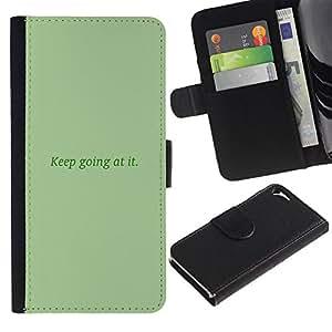 "Apple iPhone 5 / iPhone 5S , la tarjeta de Crédito Slots PU Funda de cuero Monedero caso cubierta de piel ("" Keep Going At It Mint Green Message"")"