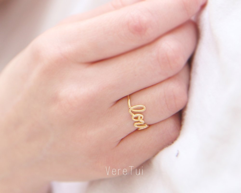 Amazon.com: Simple Gold LOVE Script Wire Letter Ring: Handmade