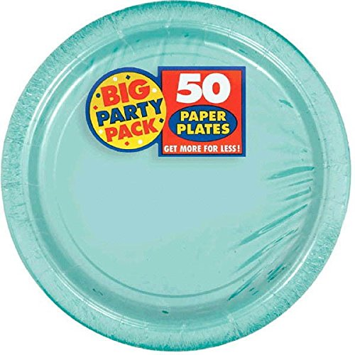 Amscan Big Party Pack 50 Count Paper Dessert Plates, 7-Inch, Robbins Egg (Halloween Party Decoration Ideas To Make)