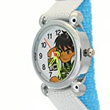 Ben 10 Light Blue Nylon Fabric Band Velcro Strap Alien Force Pattern Watches Kids Birthday Gift