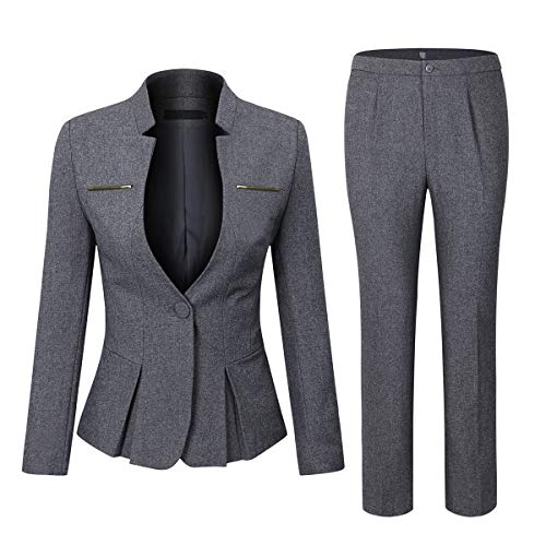 - Women's Elegant Business Two Piece Office Lady Suit Set Work Blazer Pant (Dark Grey, L)