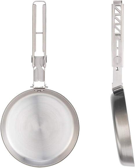 Mini sartén para tortilla, 108 mm, titanio, doble capa, antiadherente, ideal para camping, senderismo, picknick, utensilios de cocina portátiles, apta ...
