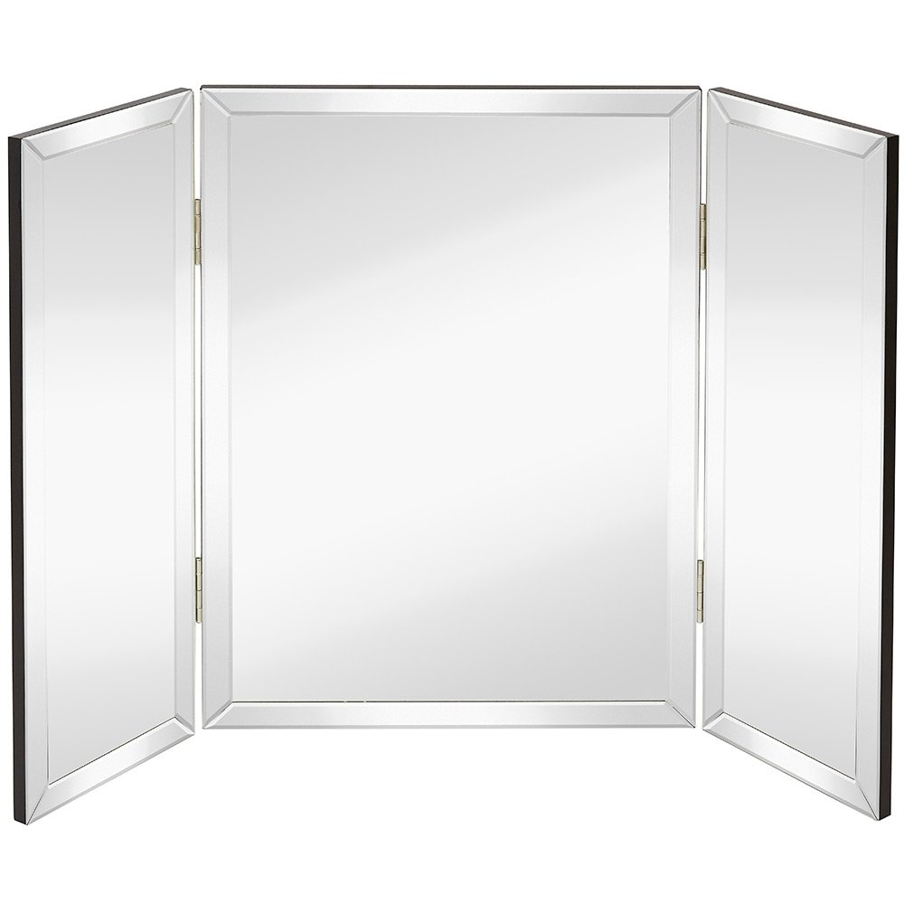 Hamilton Hills Trifold Vanity Mirror | Solid Hinged Sided Tri-fold Beveled Mirrored Edges | 3 Way Hangable on Wall or Tabletop Cosmetic & Makeup Mirror 28'' x 40''