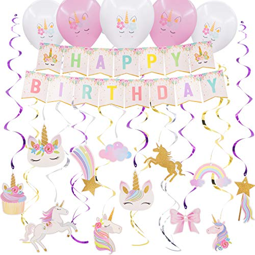 Pawliss Unicorn Hanging Swirls Decorations with Birthday Banner and Balloons, 36 Pack Unicorn Birthday Party Supplies Favors for Kids Girls Adults