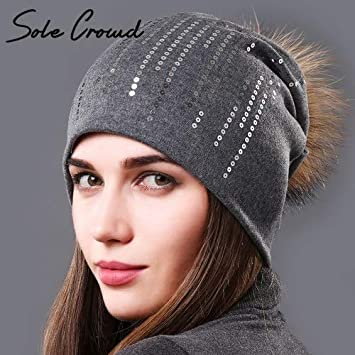 HOKUGA 2017 Women beanies Autumn fashion round sequins hats winter warm  cotton caps 100% raccoon 343586432e94