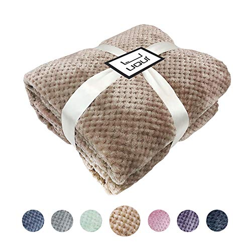 (U UQUI Taupe Blanket Full Size Blankets for Bed or Couch Soft Fleece Travel Throw Blanket Silky Flannel Fleece Waffle Pattern Throw Warm Lightweight Blanket (Full 70