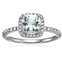 10k and Diamond Cushion Halo Engagement Ring (1/4cttw, H-I Color, I1-I2 Clarity), Size 7