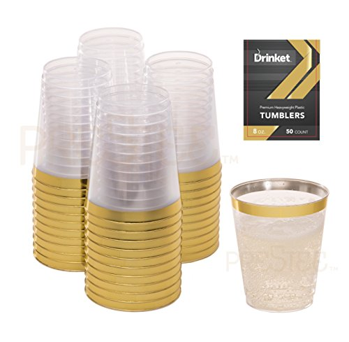 Gold Plastic Clear Cups | 8 oz. 50 Pack | Disposable Party Cups with Gold Rim | Fancy Wedding Tumblers | Elegant Party Supplies & Decorations | Old Fashioned Tumblers [Drinket Collection]