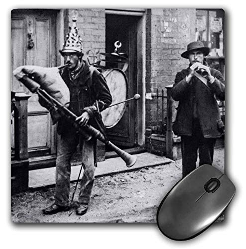 (3dRose Scenes from The Past Magic Lantern - Edwardian Street Performers Vintage 1910 Funny Musicians - Mousepad (mp_246080_1))