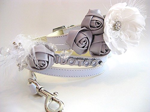 Wedding Flower Dog Collar | Flower Dog Collar & Matching Leash | White and Silver | Small Dog collar fits neck size 11