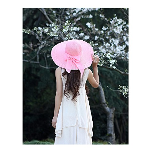 Noeuds Papillon Chapeau Grand Soleil Paille Capeline 2 Rose Femme wPCqHSp