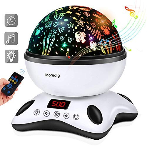 (Moredig Night Light Projector Remote Control and Timer Design Projection lamp, Built-in 12 Light Songs 360 Degree Rotating 8 Colorful Lights for Children Kids Birthday, Parties - Black White)