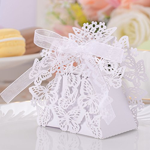50pcs Party Wedding Favor Candy Box With Ribbon Laser Cut Butterfly Chocolate Gift Boxes Bonbonniere for Birthday Bridal Shower Valentine's Day Christmas Decoration (White)