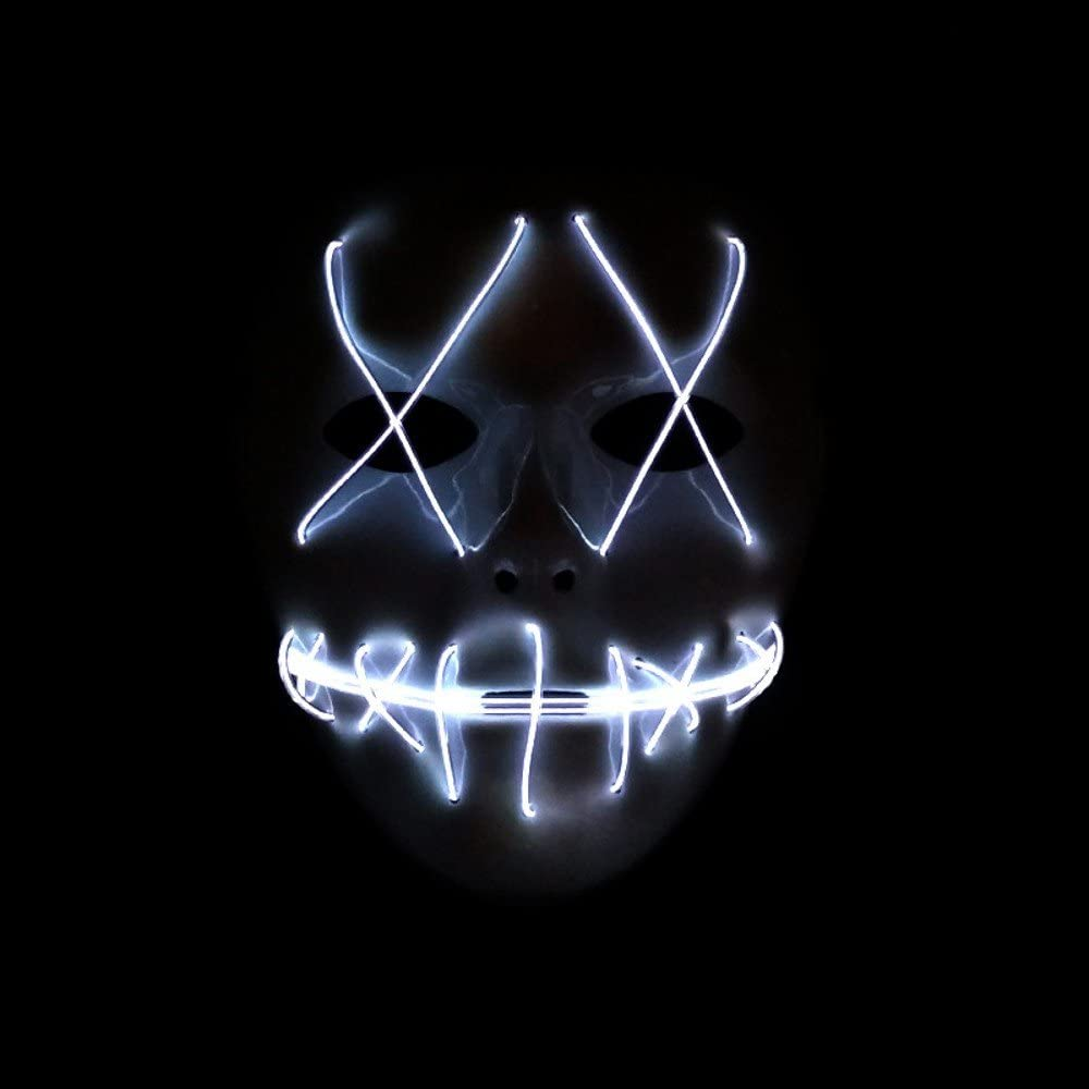 SUNREEK Halloween Scary Mask, Halloween Cosplay Led Costume Mask EL Wire Light Up Máscara para Halloween, Festival Parties (Blanco)