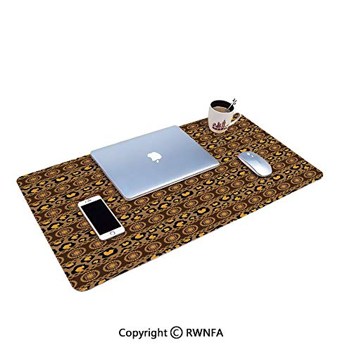 Ethnic Traditional Artistic Ornament Striped Pattern Leopard Skin Artwork Gaming Mouse pad,(15.7