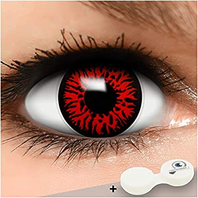 FUNZERA® Lentillas de Colores Red Demon + recipiente para lentes ...