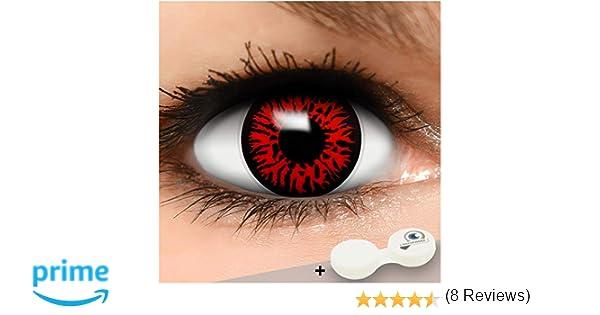 FUNZERA® Lentillas de Colores Red Demon + recipiente para lentes ...