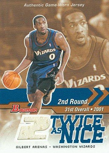 (Gilbert Arenas player worn jersey patch basketball card (Washington Wizards) 2004 Bowman Twice as Nice #TNGA)
