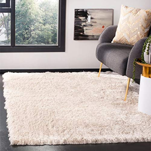 4' x 6' Handmade Neutral Ivory Color Soft Glam Shag Indoor Area Rug, Polyester Artistic Shaggy Fuzzy Calming Rich Pure Elegant Cloud Silky Rectangle Rectangular Solid Pattern Luxurious Accent Carpet