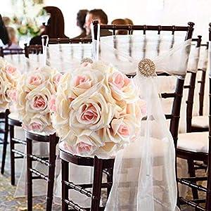 XGM GOU 5Pcs/Lot Artificial Silk Flower Rose Balls Wedding Centerpiece Pomander Bouquet for Wedding Party Decoration Decorative Flowers 15