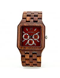 Wooden Bangle Quartz Watch with Calendar Display W111B (red)