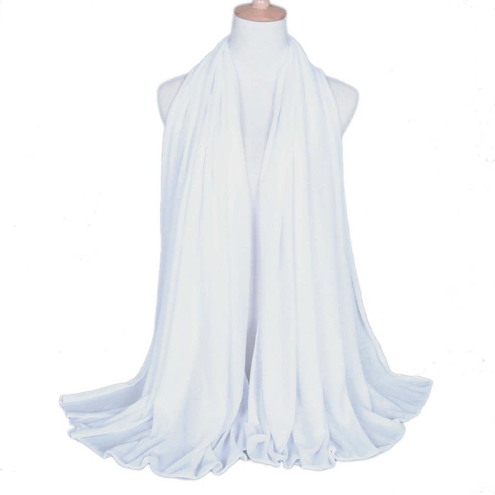 LMVERNA white jersey muslim hijab polyester solid color jersey scarves fashion long spring wrap scarf (White)